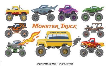 Monster truck vector cartoon vehicle or car and extreme show transport illustration set of heavy monstertruck with large wheels isolated on white background