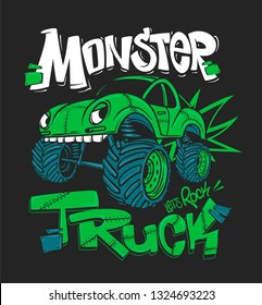 Monster Truck. Vector illustration for t-shirt prints.