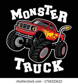 monster truck vector logo design inspiration, Design element for logo, poster, card, banner, emblem, t shirt. Vector illustration