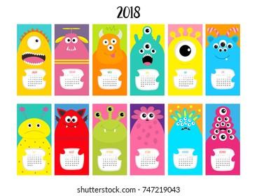 Monster vertical monthly calendar 2018. Cute funny cartoon character set. All month. Flat design. Vector illustration