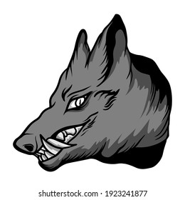 Monster wolf cartoon Vector. Funny and scary Animals cartoon character illustration clipart