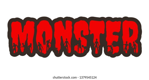 Monster word and silhouettes on them. Halloween theme sticker