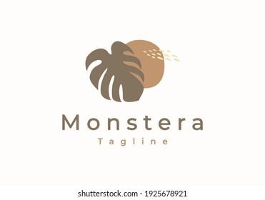 monstera deliciosa deliciousa leaf hand drawn logo vector icon illustration