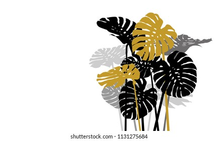 Monstera deliciosa or swiss cheese plant tropical leaves on white background vector illustration
