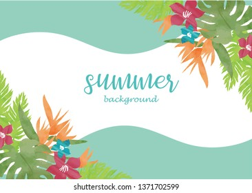 Monstera and Hibiscus Summer image frame