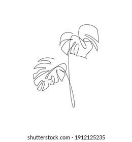 Monstera leaf line art. Contour drawing. Minimalism art. Modern decor.