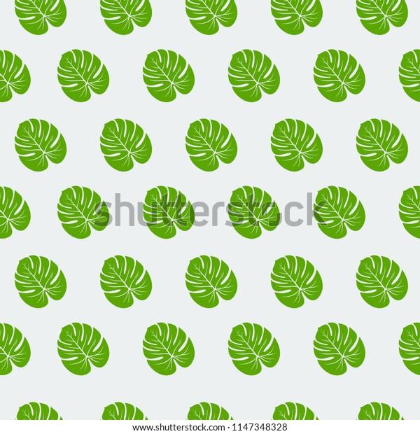 Monstera leaf seamless pattern vector illustration
