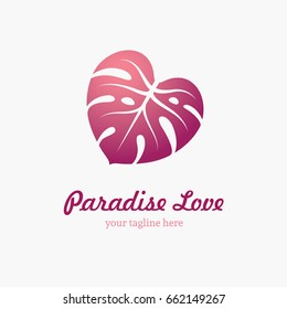 Monstera leaf in a shape of heart. Tropical, exotic nature logo. Love icon, symbol.