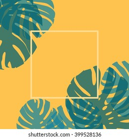 Monstera leaves card template on yellow with place for text.