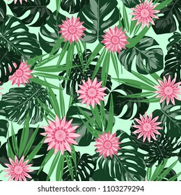 Monstera Leaves and Ethnic Flowers. Vector Seamless Pattern with Philodendron and Stylized Daisies. Watercolor Effect. Tropic Floral Background. Exotic Seamless Pattern with Jungle Foliage for Fabric.