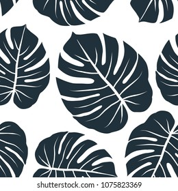 monstera leaves exotic graphic seamless pattern on white background vector illustration