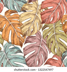 Monstera leaves hand drawn seamless retro color pattern. Philodendron background. Houseplant sketch drawing. Ink pen illustration. Domestic plant, greenery. Wrapping paper, wallpaper design