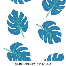 Monstera leaves isolated on white background. Vector seamless pattern