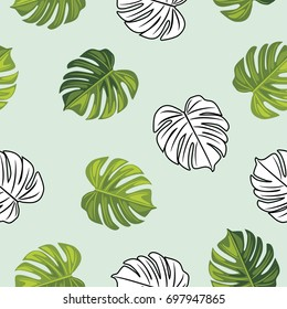 Monstera leaves. Seamless pattern. Vector