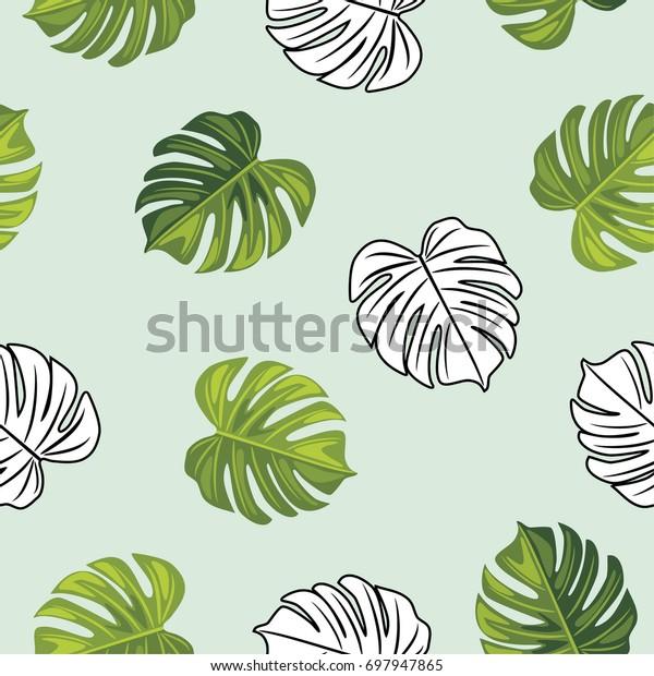 monstera-leaves-seamless-pattern-vector-