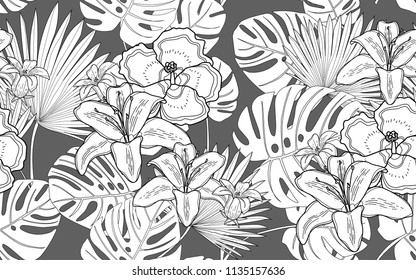 Monstera, palm and hawaiian flowers. Big leaves and exotic flowers composition. Vector illustration. Botanical seamless wallpaper. Digital nature art. Cartoon style sketch. Grey background.