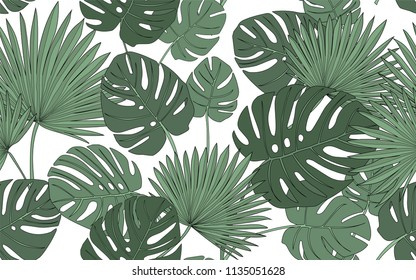 Monstera and palm tree. Big leaves and exotic flowers composition. Vector illustration. Botanical seamless wallpaper. Digital nature art. Cartoon style sketch. White background.