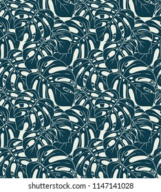 Monstera plant exotic monochrome seamless pattern with botanical leaves and dense foliage vector illustration