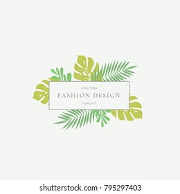 Monstera Tropical Leaves Fashion Sign or Logo Template. Abstract Green Foliage with Rectangle Border and Classy Typography. Pastel Colors. Isolated.