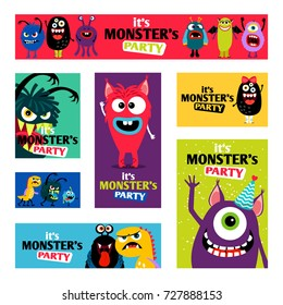 Monsters Banners set or Monster labels for kids diary design vector illustration