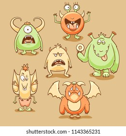 Monsters cartoon set for Halloween, vector illustration with different emotions
