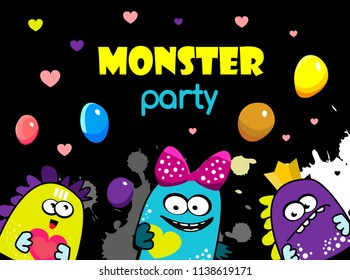 monsters celebration party. Cartoon