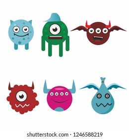 Monsters cute colorful doodles