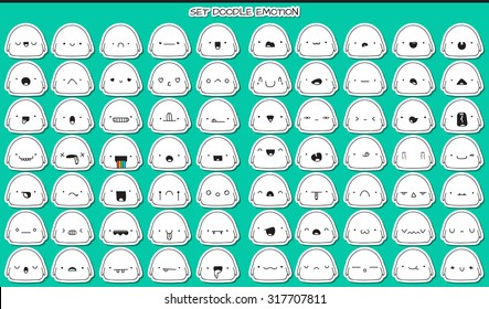 Monsters cute stickers, set isolated of 70 pieces sketch characters with doodle emotions. Design drawn icons