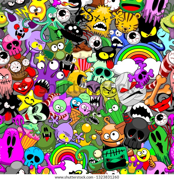 Monsters Doodles Characters Saga Seamless Repeat Pattern Vector Design