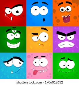 Monsters emotions. Scary faces masks with mouth and eyes of aliens monsters vector emoticon set.