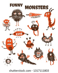 Monsters funny collection, doodle style. Vector graphic illustration