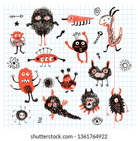 Monsters funny collection doodles, vector graphic illustration