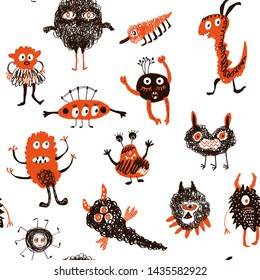 Monsters funny seamless pattern. Vector graphic illustration