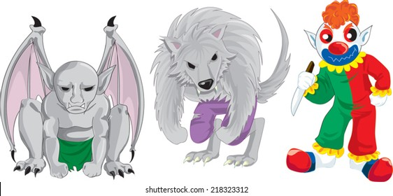 monsters gargoyle warewolf clown