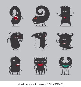 Monsters icons. Cute black monsters vector illustration