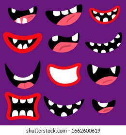 Monsters mouth set. Red cartoon mouths with teeth and tongue isolated on violet background. Vector illustration.