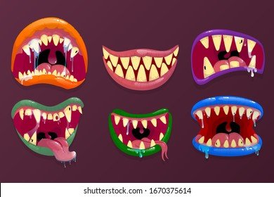 Monsters mouths. Funny facial expression, open mouth with tongue and drool. Scary and horror mouths Monsters.