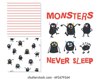 Monsters never sleep. Surface design and 2 seamless patterns. Use for print design, fashion kids wear. Vector illustration
