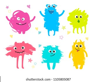 ?ute monsters set created from hand drawn ink brush strokes