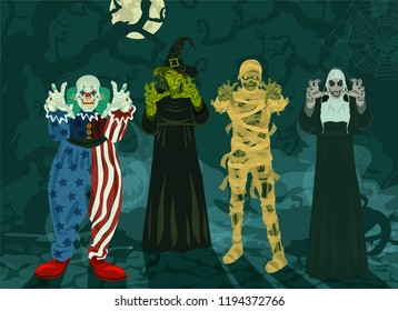 Monsters set Halloween 4 monsters, witch, clown, nun, mummy fog, trees, full moon vector illustration (set 2/2)