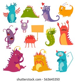 Monsters vector set. Kids cartoon toy, colorful cute character. Vivid fabulous incredible creatures. Monsters with lot of eyes and wings. Happy cheerful creature cyclops. Isolated on white background