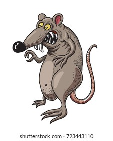 Monstrous rat cartoon image. Artistic freehand drawing.