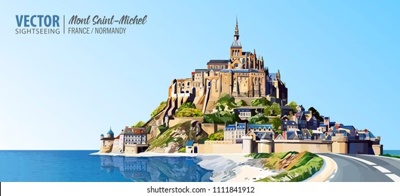 Mont Saint Michel cathedral on the island. Abbey. Normandy, Northern France, Europe. Landscape. Beautiful panoramic view. Vector illustration
