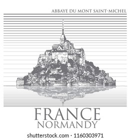 Mont Saint Michel, Normandy. General view of the island. Hand-drawn vector monochrome illustration stylized for wood engraving.