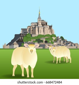 Mont Saint-Michel Abbey and sheep on a pasture. Vector illustration EPS10