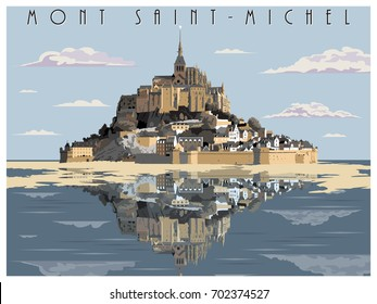 Mont Saint-Michel, Normandy, France. Handmade drawing vector. Vintage style.