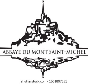 Mont Saint-Michel, Normandy. General view of the island, hand drawn vector illustration