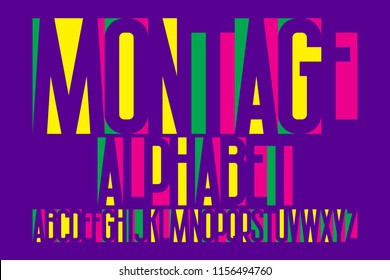 Montage alphabet. Colorful letters font. Isolated english alphabet.