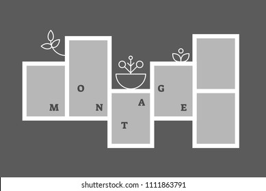 Montage collage photo frame decorative composition blank template, vector wall frame design.