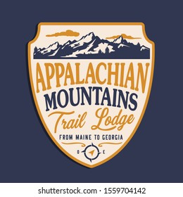 Montains trail typography, tee shirt graphics, vectors